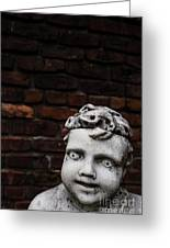 Creepy Marble Boy Garden Statue Greeting Card