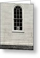 Creepy Victorian Girl Looking Out Window Greeting Card