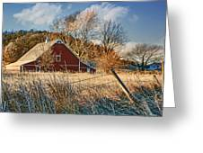 Crescent Barn In Winter Greeting Card