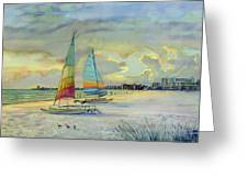 Crescent Beach Hobies At Sunset Greeting Card