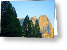 Crescent Moon Over Mountain Greeting Card