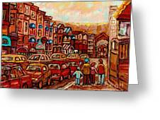 Crescent Street Family Stroll  Montreal City In Autumn City Scene Paintings Carole Spandau Greeting Card