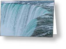 Crest Of Horseshoe Falls In Winter Greeting Card