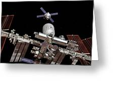 Crew Exploration Vehicle Approaching Iss Greeting Card