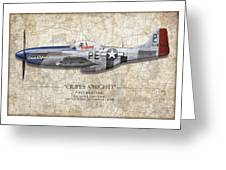 Cripes A Mighty P-51 Mustang - Map Background Greeting Card