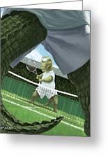 Crocodiles Playing Tennis At Wimbledon  Greeting Card