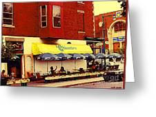 Croissanterie Figaro Parisian Bistro Sidewalk Cafe C Spandau Montreal Premier City Scene Artist Greeting Card