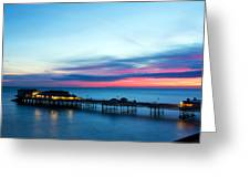 Cromer Pier At Sunrise On English Coast Greeting Card