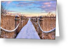 Crooked Lake Boardwalk Greeting Card by Jenny Ellen Photography