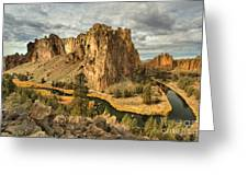 Croooked River Around The Jagged Peaks Greeting Card