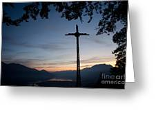 Cross On The Mountain Greeting Card
