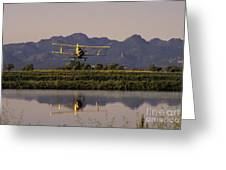 Crop Duster Applying Seed To Rice Field Greeting Card