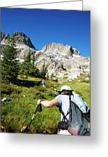 Cropped Rear View Of A Female Hiker Greeting Card