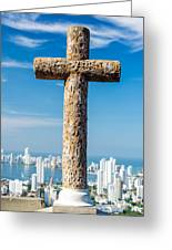Cross And City Greeting Card