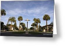 Cross And Palm Trees Mission Santa Clara Greeting Card