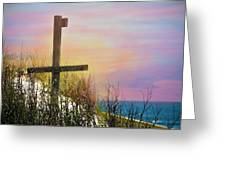 Cross At Sunset Beach Greeting Card