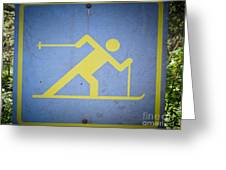 Cross Country Skiing Signboard Greeting Card