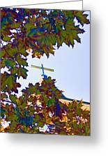 Cross Framed By Leaves Greeting Card