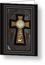 Cross In Leather Greeting Card