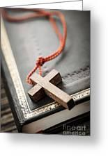 Cross On Bible Greeting Card