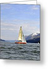 Cross Sound Sailboat Greeting Card