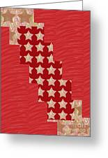 Cross Through Sparkle Stars On Red Silken Base Greeting Card