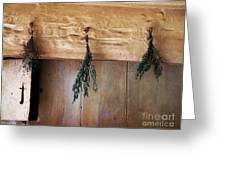 Crossbeam With Herbs Drying Greeting Card