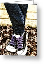 Crossed Feet Of Teen Girl Greeting Card