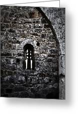Crosses And Stone Walls At Clonmacnoise Greeting Card