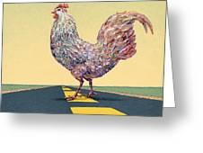 Crossing Chicken Greeting Card