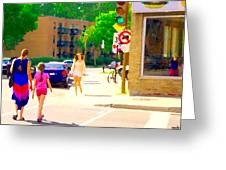 Crossing Notre Dame At Charlevoix To Dilallo Burger Montreal Summer City Scene Carole Spandau Greeting Card