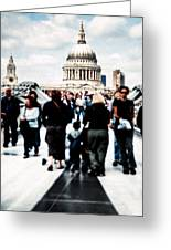 Crossing Over The Thames Greeting Card