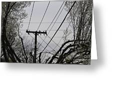 Crossing Power Lines Greeting Card