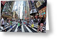 Crossing The City Street Greeting Card