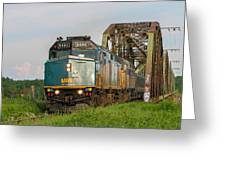 Via Train Crossing The Miramichi River Greeting Card by Steve Boyko