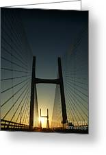 Crossing The Severn Bridge At Sunset - Cardiff - Wales Greeting Card