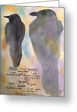 Crow And Raven Greeting Card