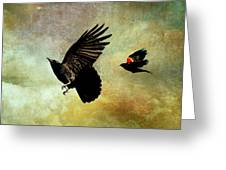 Crow And Red-winged Blackbird Greeting Card