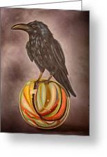 Crow On Marble Edit 3 Greeting Card
