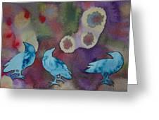 Crow Series 6 Greeting Card by Helen Klebesadel