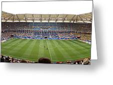 Crowd In A Stadium To Watch A Soccer Greeting Card