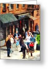 Crowded Sidewalk In New York Greeting Card