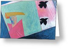 Crows And Geometric Figure Greeting Card
