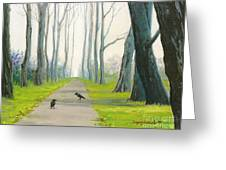 Crows On The Path Greeting Card