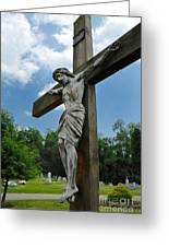 Crucifix Statue St James Cemetery Sewickley Heights Pennsylvania Greeting Card