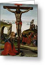 Crucifixion With Mary Magdalene Greeting Card