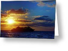 Cruise Liner At Sunset Greeting Card
