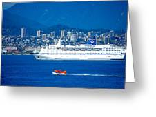 Cruise Ship And Seaplane In Vancouver Harbor Greeting Card