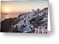 Cruise Ship At Sunset In The Mediterranean Sea Santorini Greece Greeting Card