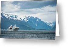 Cruise Ship In The Sognefjord In Norway Greeting Card